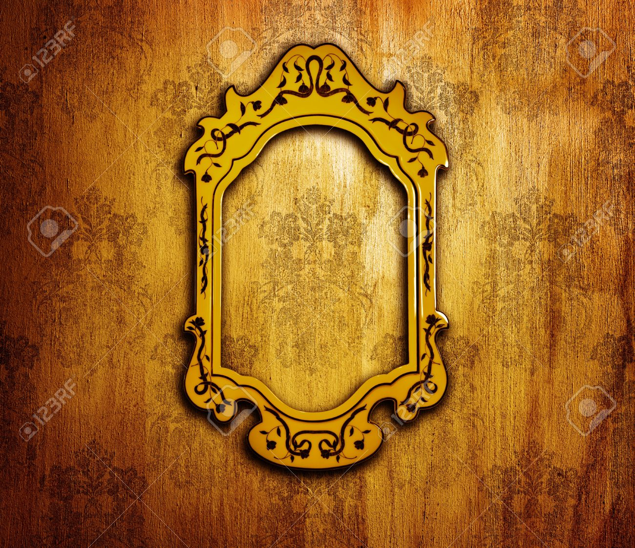 Vintage Interior Design, Old Golden Mirror Frame On Retro Grunge ...