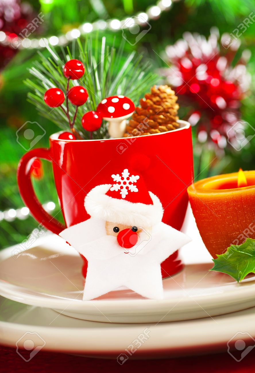 Picture of luxury Christmastime table decoration red coffee cup decorated with Santa Claus star & Picture Of Luxury Christmastime Table Decoration Red Coffee.. Stock ...