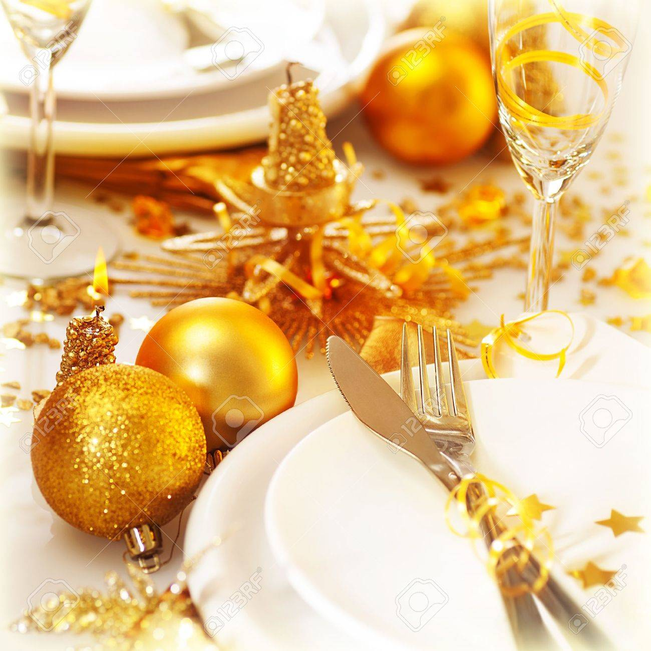 Christmas table decorations gold - Picture Of Christmas Table Setting Still Life Festive White Utensil Decorated With Golden Candle And