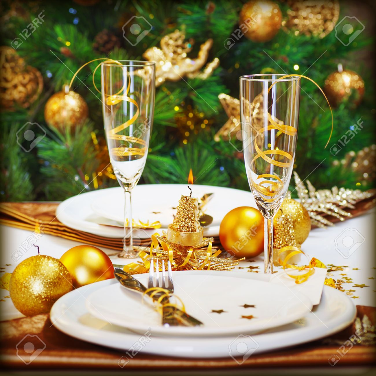 Restaurant table for two - Image Of Christmas Dinner In Restaurant Christmastime Table Setting Over Decorated Fir Tree Background