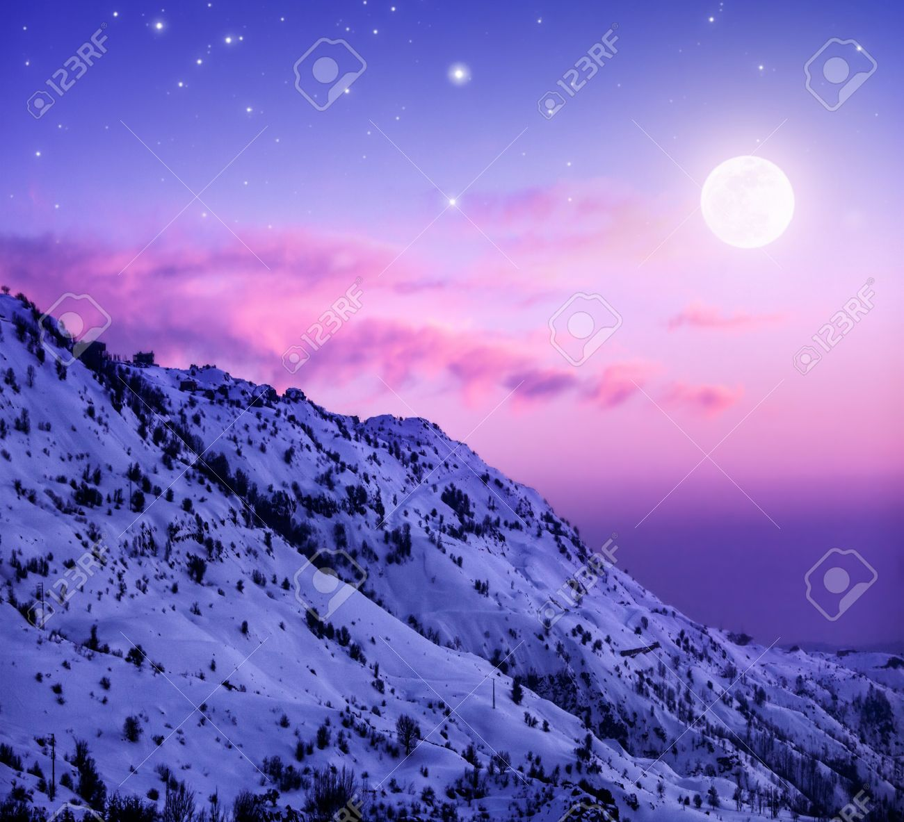 Photo Of Beautiful Snowy Mountains On Purple Sunset Background Faraya Mountain In Lebanon Covered With