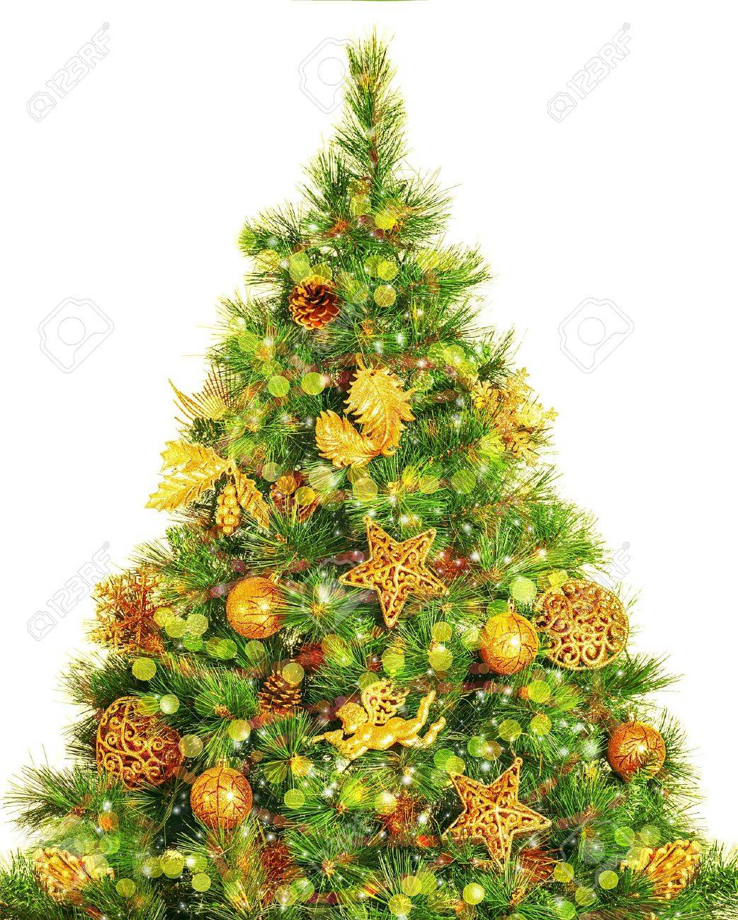 of beautiful decorated Christmas tree isolated on white background, decorative golden angel, stars and festive balls hanging on green fir tree, New Year eve, Xmas celebration Stock Photo - 16854250