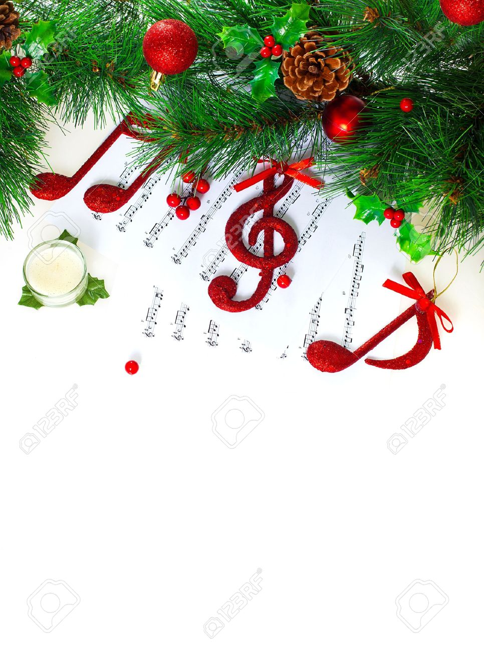 Christmastime Treble Clef, Red Musical Symbol On Note Pages ...