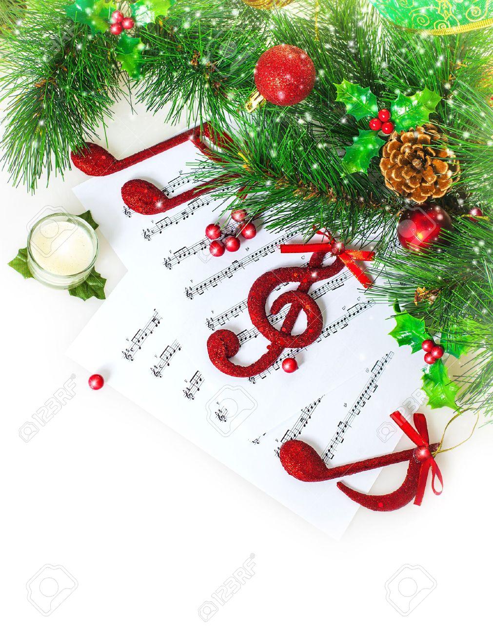 Image De Rouge Festif Clef De Sol Sur Le Papier Des Notes, Noël