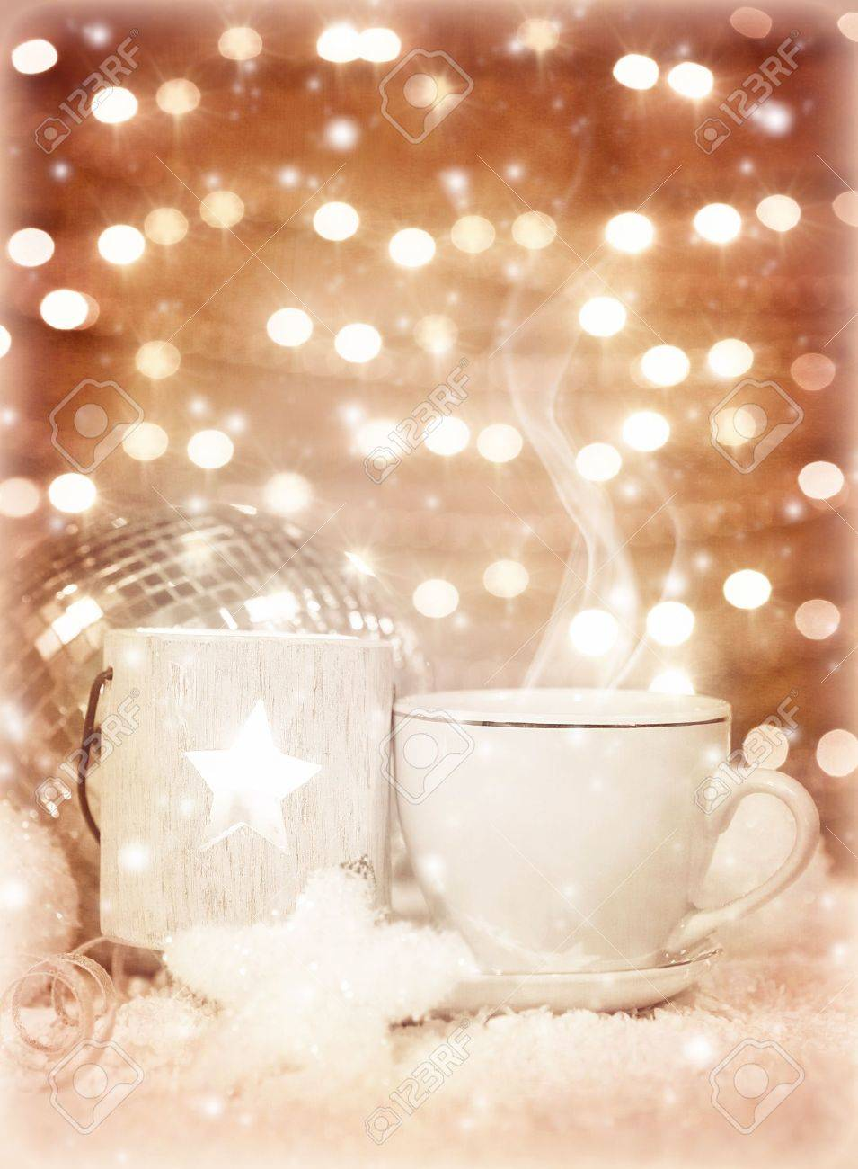 Picture of beautiful luxury white cup of tea on festive glow background, New Year greeting card, home Christmastime decor, hot chocolate drink, restaurant table setting, winter holidays Stock Photo - 16976257