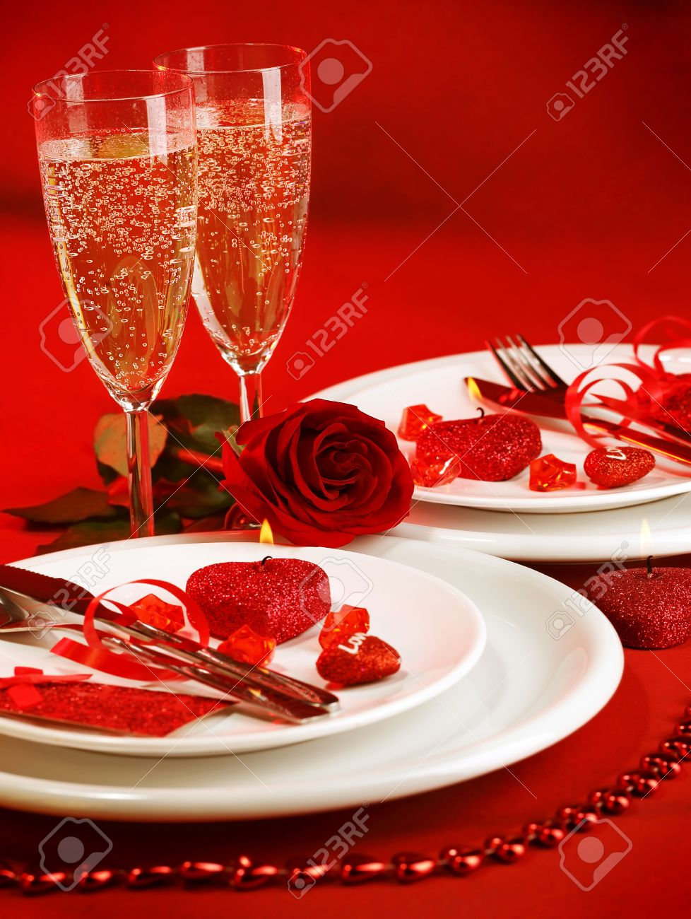 Romantic dinner table decoration - Picture Of Luxury Table Setting Romantic Dinner White Festive Utensil Served With Silverware And