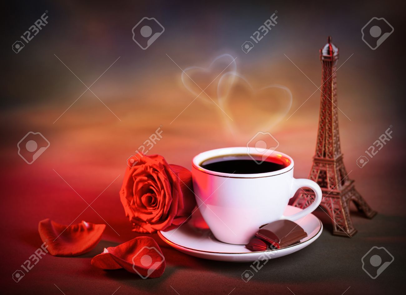 Picture Of White Cup With Morning Tea In Valentine Day, Grunge Background,  Red Fresh