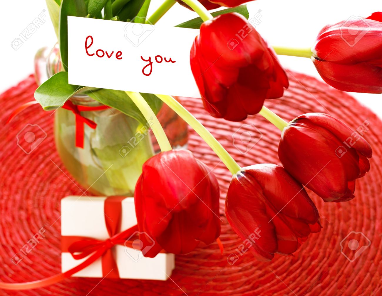 Photo Of Beautiful Red Tulip Flowers Bouquet And Romantic Postcard
