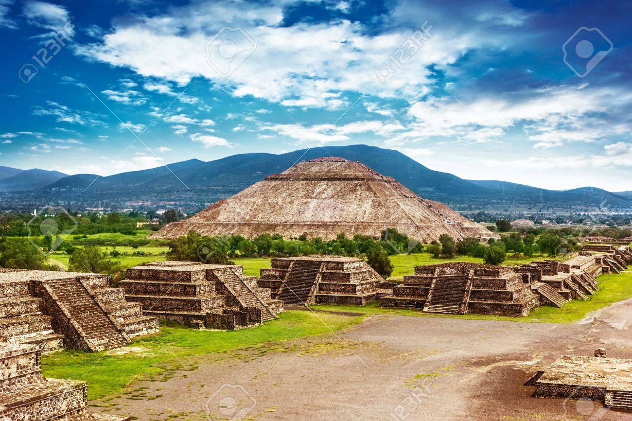 Pyramids of the Sun and Moon on the Avenue of the Dead, Teotihuacan ancient historic cultural city, old ruins of Aztec civilization, Mexico, North America, world travel - 19971934