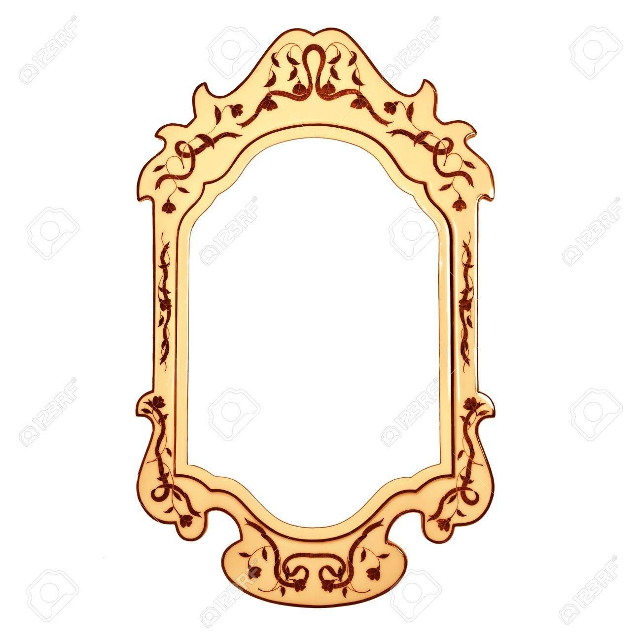 Leere Vintage Spiegel-Rahmen Auf Weißem Hintergrund, Goldene Retro ...