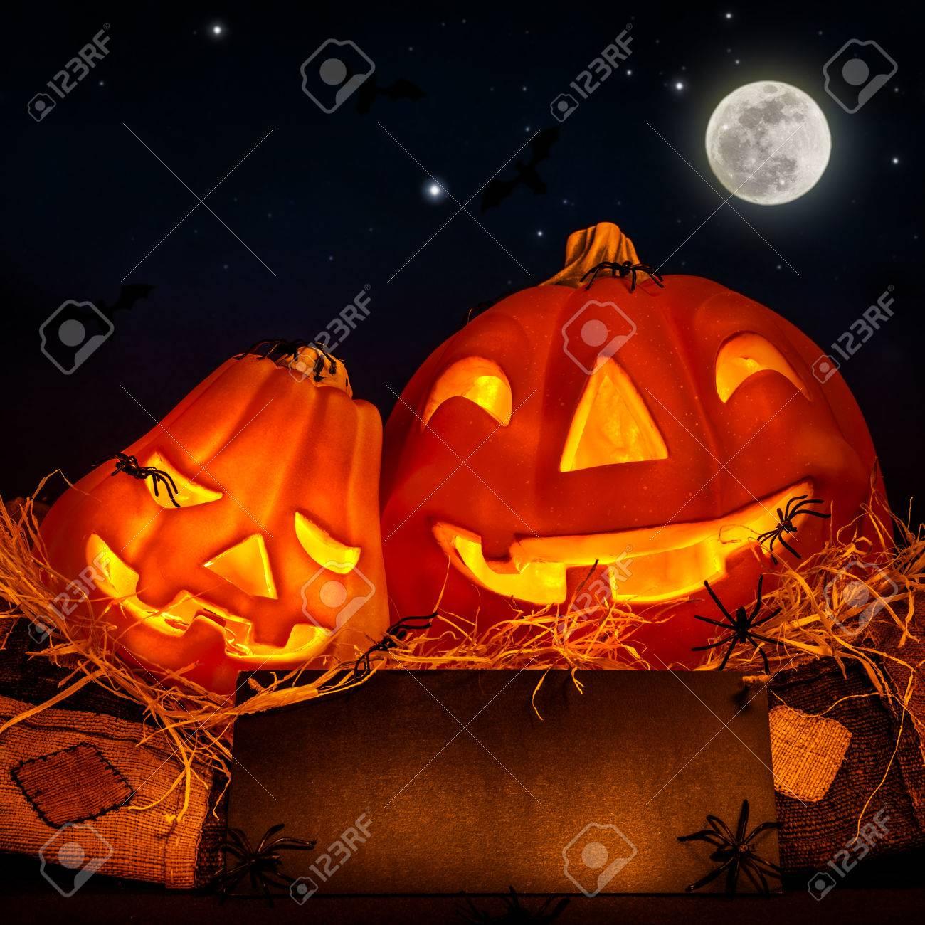 Halloween Pumpkin Decoration On Night Sky Background, Full Moon ...