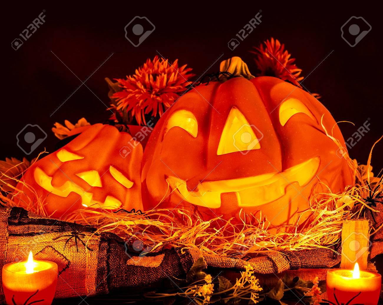 Halloween Pumpkin Decoration On Dark Background, Traditional ...