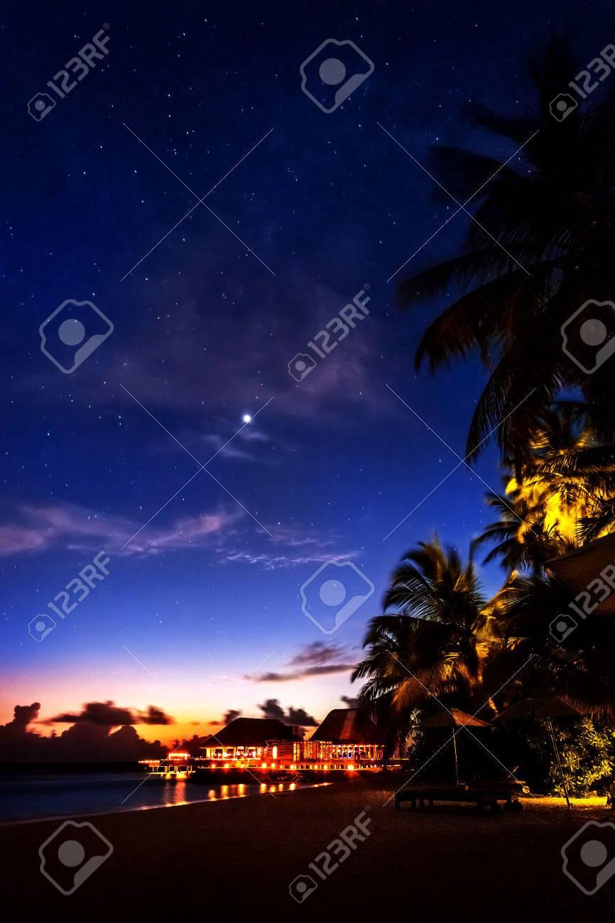 Tropical Resort At Night Beautiful Nighttime Scene Og A Romantic Beach Peaceful Island Landscape