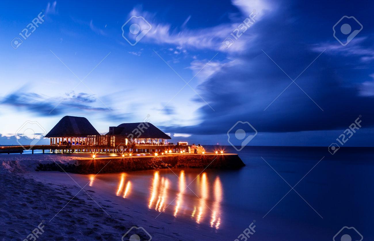 Romantic Restaurant On The Beach Beautiful Night Seascape Luxury Resort Maldives Dark