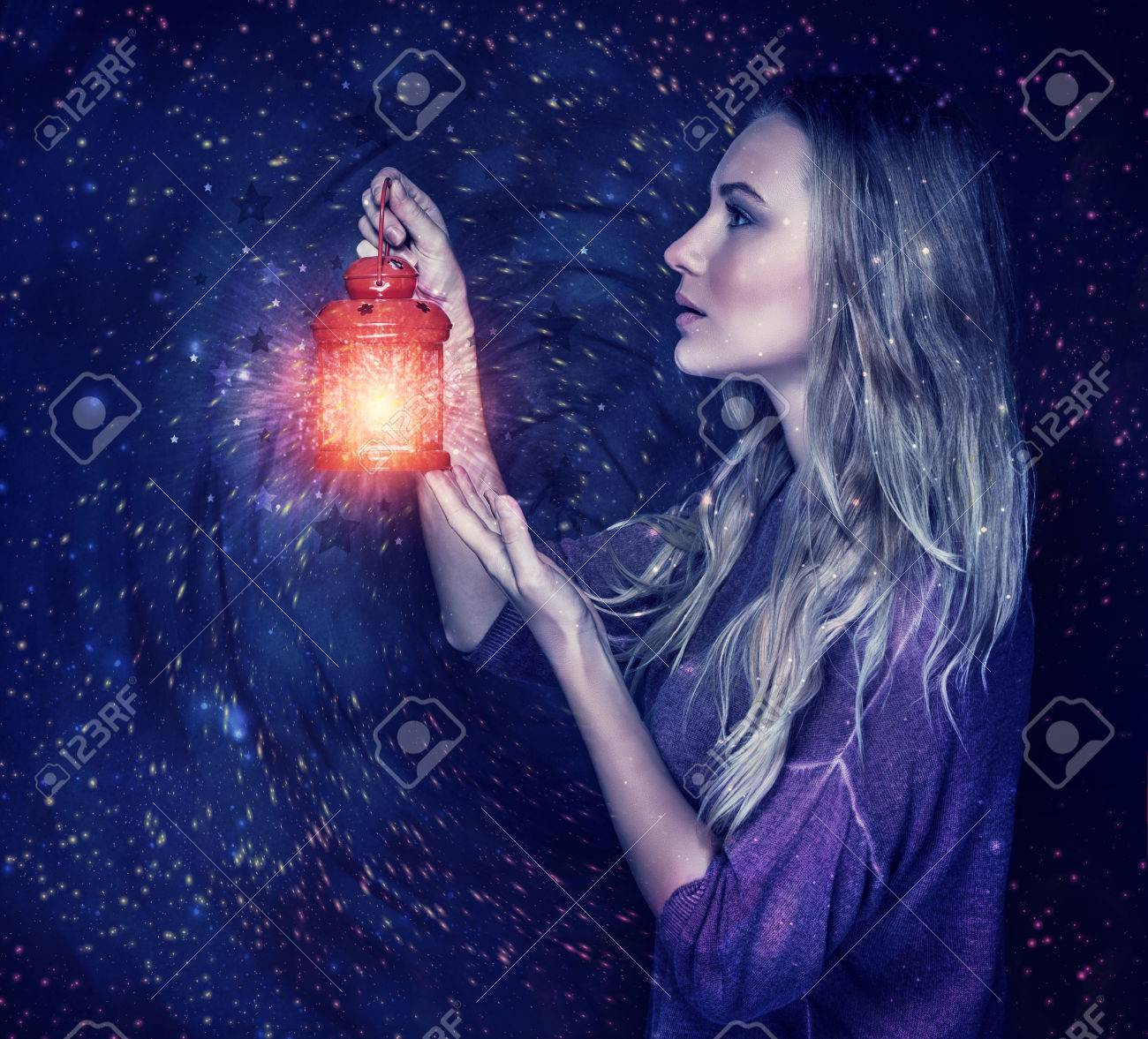 Beautiful Woman With Magic Lantern On Starry Sky Background ... for Girl Holding Lamp  113cpg