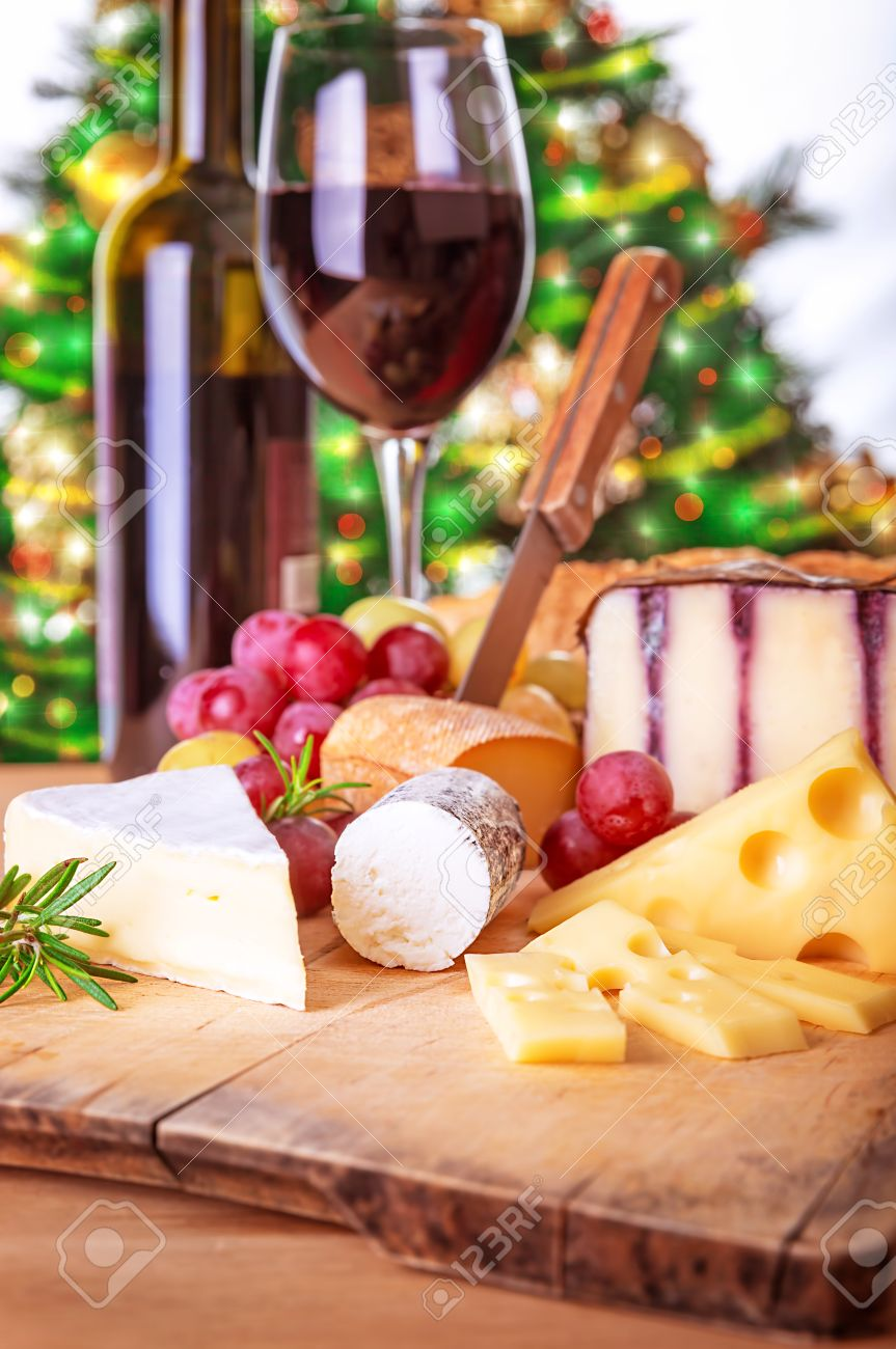 Christmas dinner at home cheese and wine table setting cozy atmosphere Christmas eve & Christmas Dinner At Home Cheese And Wine Table Setting Cozy ...