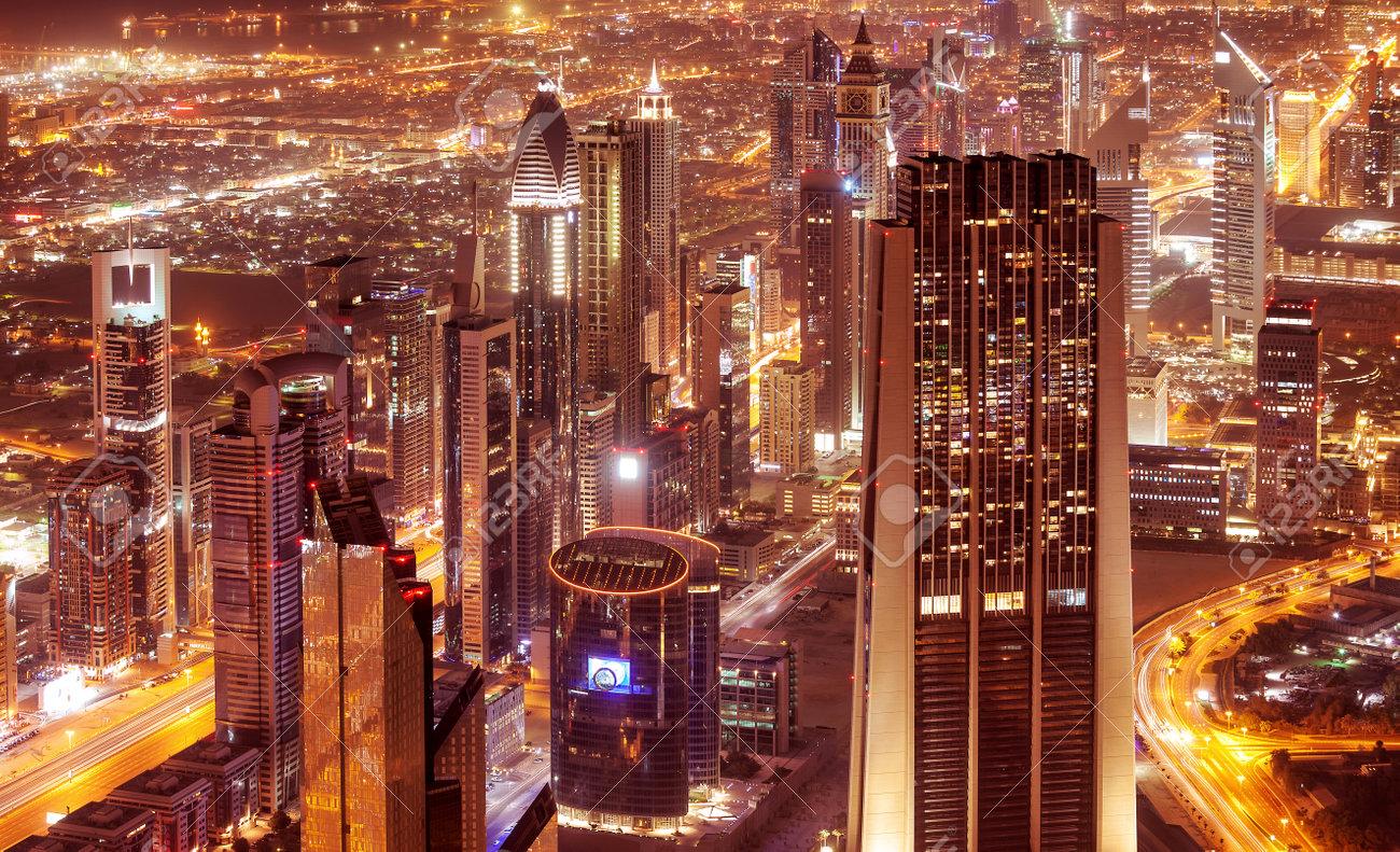 Schone Moderne Bilder ~ Dubai stadt bei nacht schöne moderne gebäude leuchten lichter