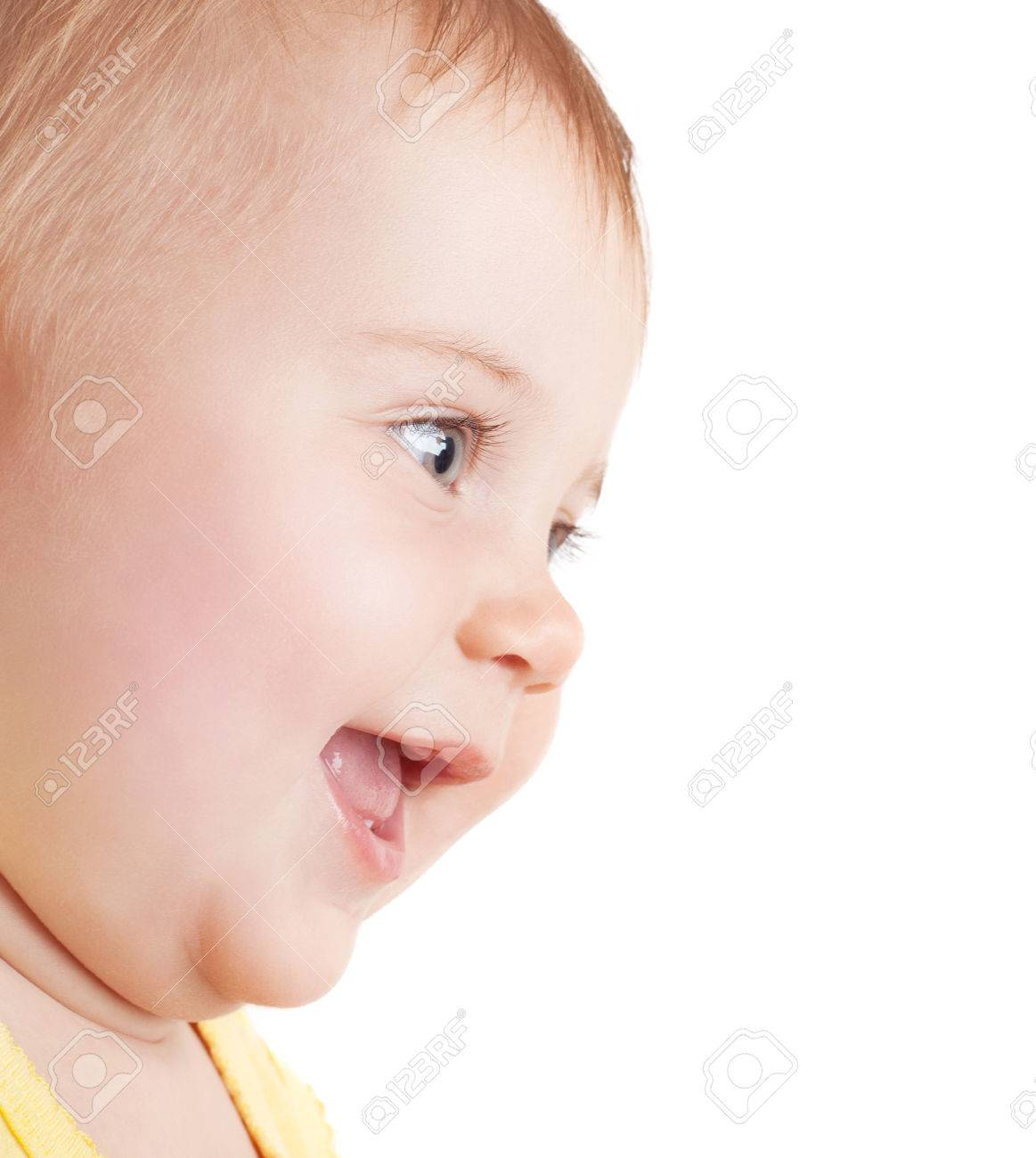 Image of: Baby Boy Closeup Portrait Of Cute Little Girl Laughing Nice Baby Face Isolated On White Background 123rfcom Closeup Portrait Of Cute Little Girl Laughing Nice Baby Face