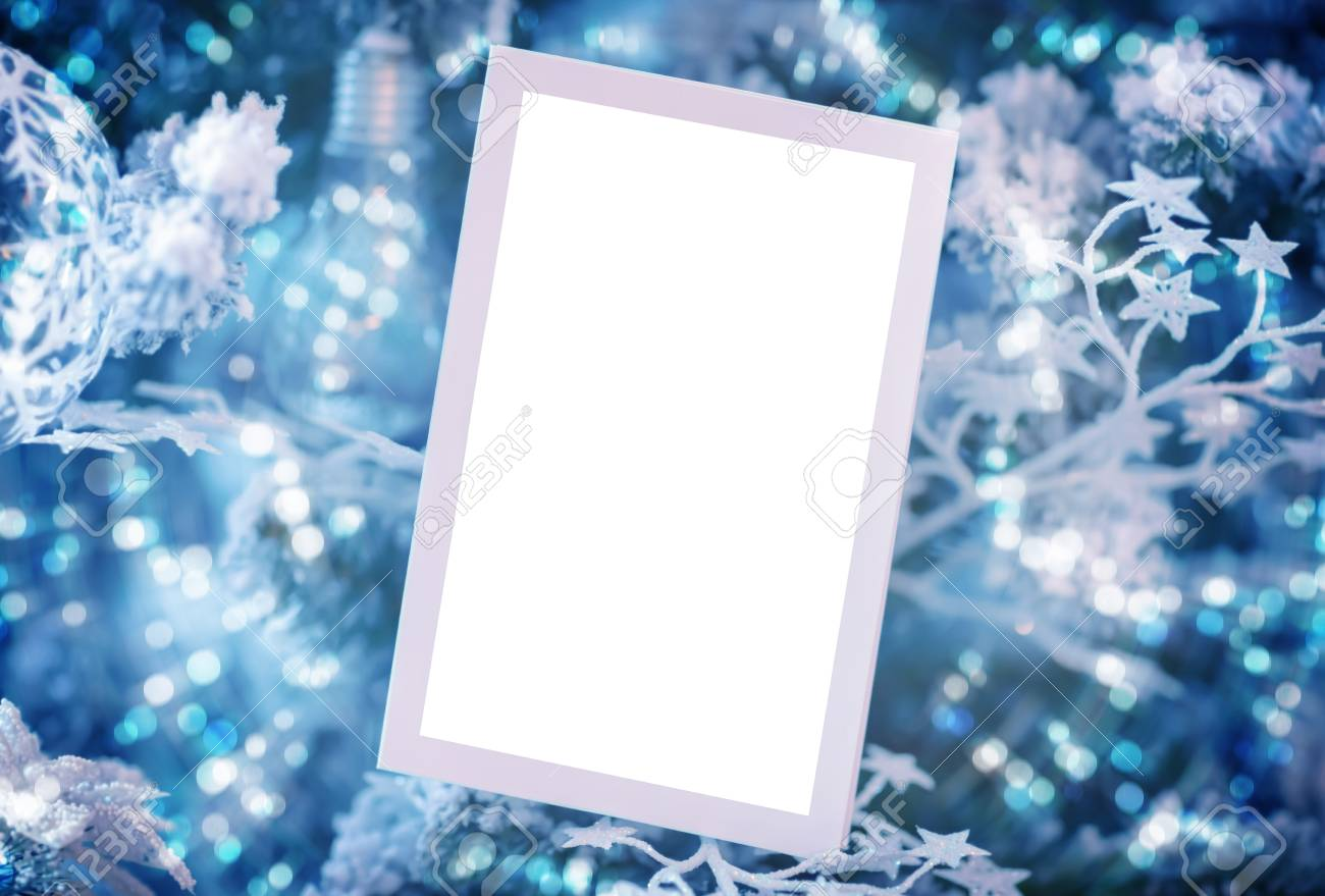blank white christmas card on blue festive background invitation for new year party beautiful