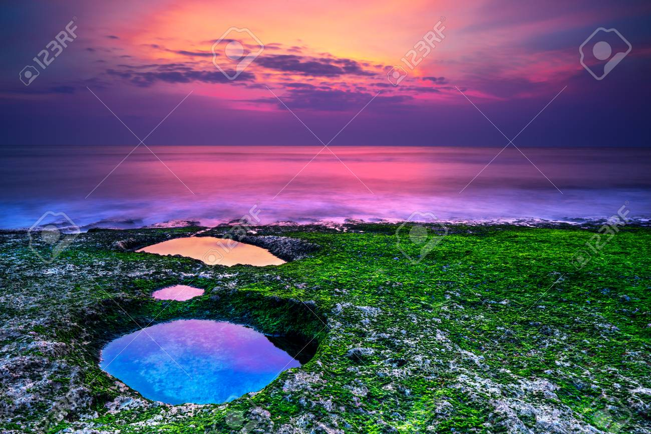 Beautiful Landscape Of An Amazing Purple Sunset Over The Sea Stock Photo Picture And Royalty Free Image Image 99821248