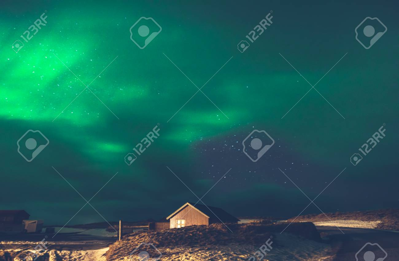 Beautiful View On The Aurora Borealis Amazing Green Light On