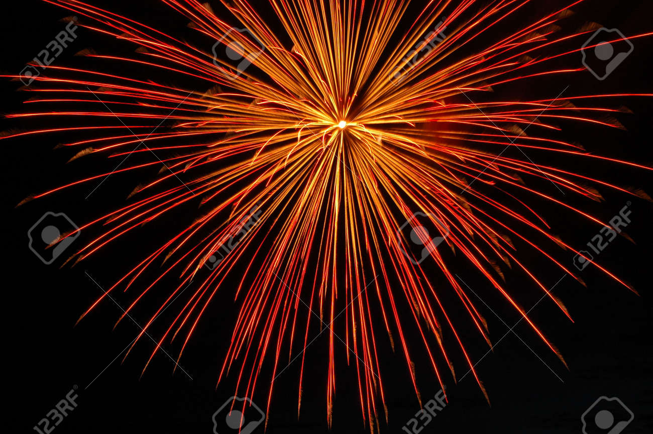 Red starbust illuminating the night sky. Stock Photo - 1105666
