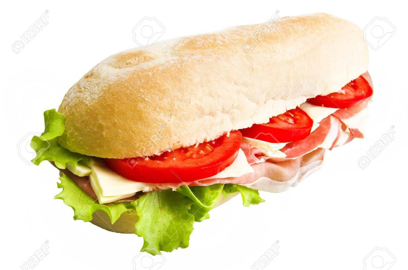 sandwich with lettuce, tomatoes, ham and cheese Stock Photo - 11265458