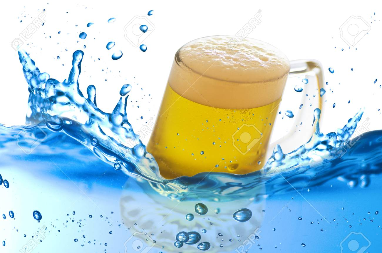 mug of beer splash in the water over white background Stock Photo - 21263785