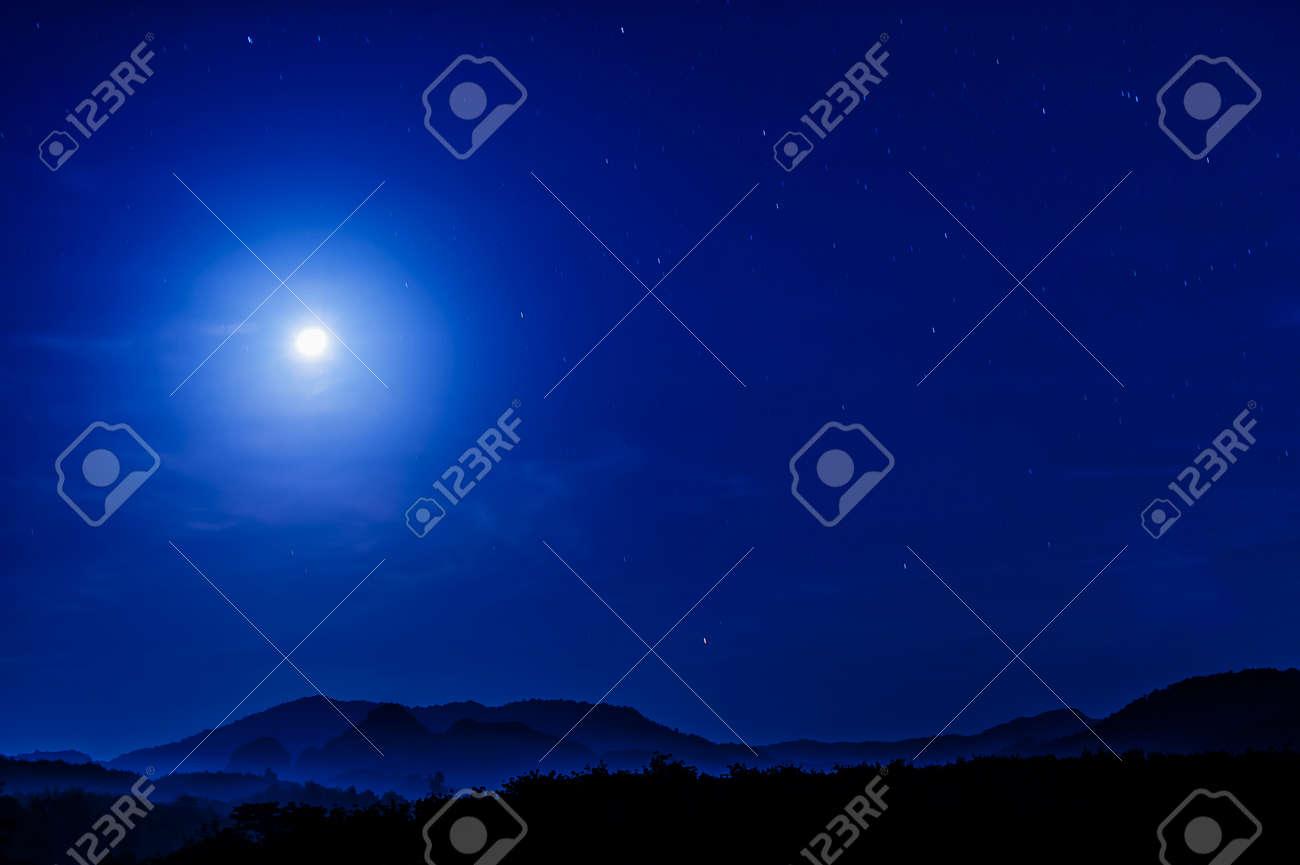 moonlight in blue clear sky - 169691504