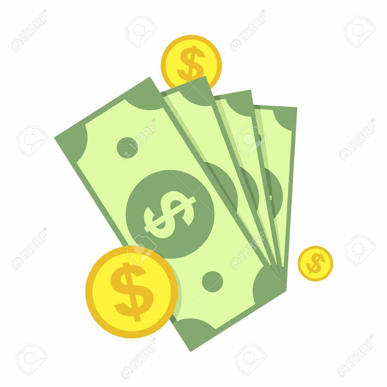 Cash, Green Dollars and Coin Icon isolated on white background. Money Vector Illustration. - 53961326