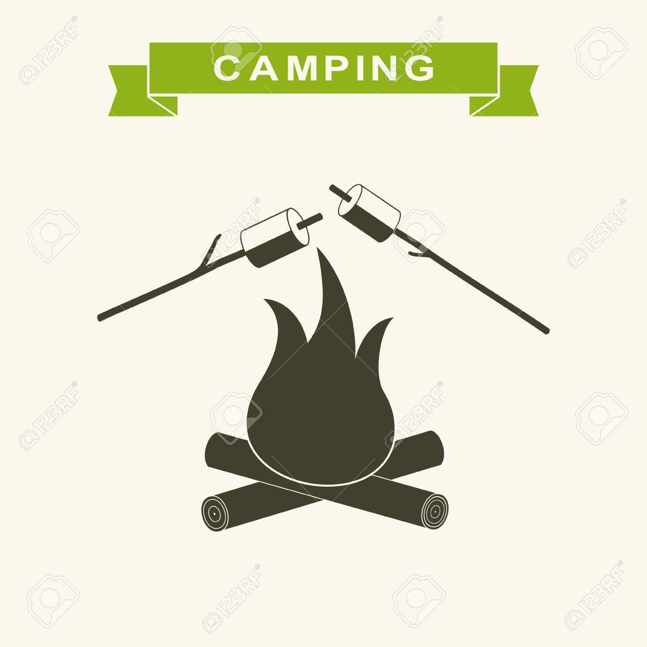 Bonfire With Marshmallow Icon Camping Grill Flat Outdoor Campfire Night Vector