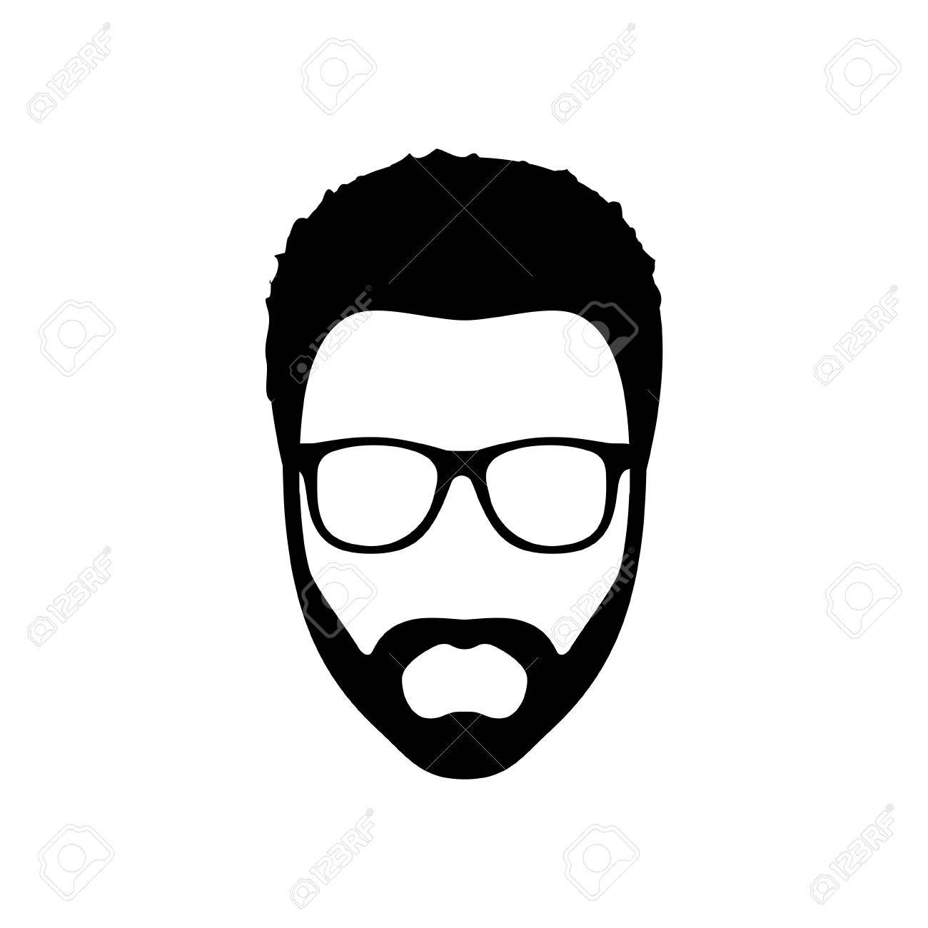 Hipster man. Hairstyle, beard and glasses in flat style. Black Fashion silhouette hipster icon isolated on white background. Vector Illustration - 57872288