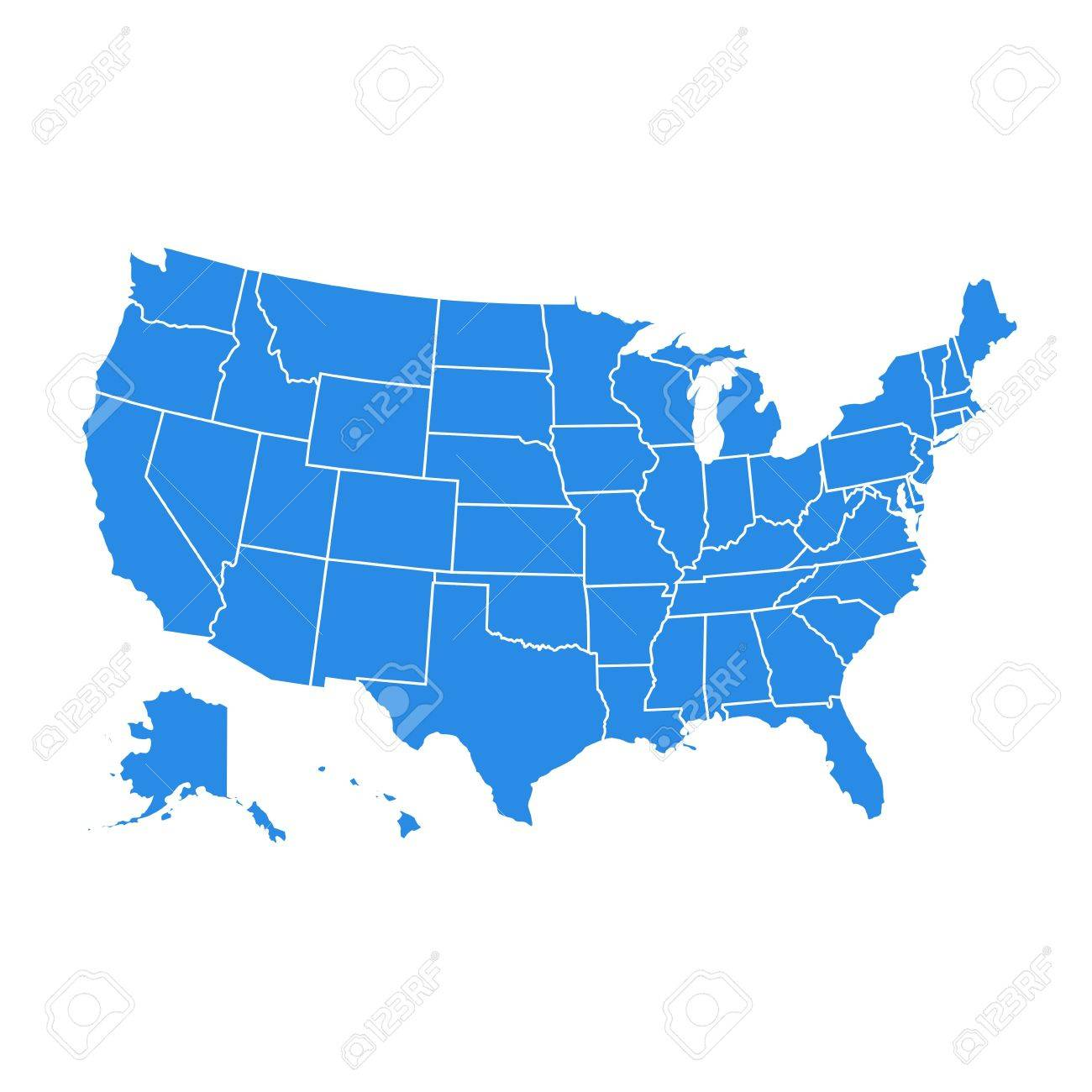 Blue Usa Map.High Detail Usa Map For Each Country United States Of America