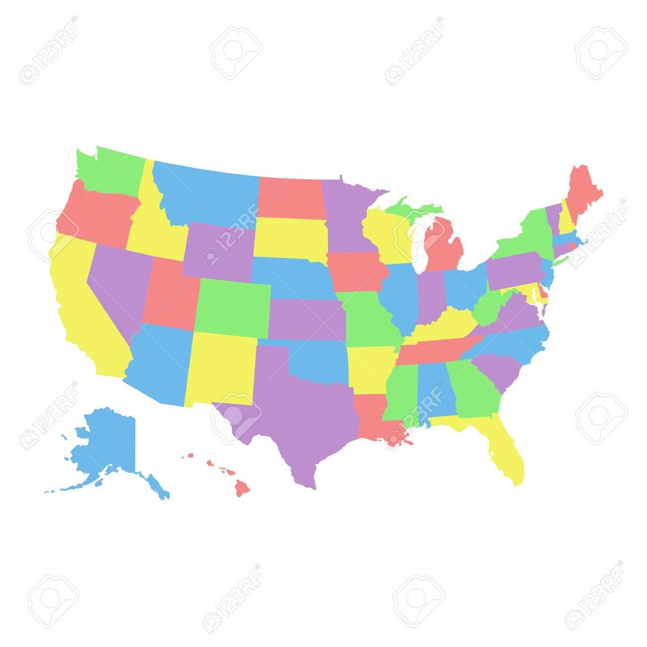 Hohe Detail Usa Karte Mit Verschiedenen Farben Fur Jedes Land
