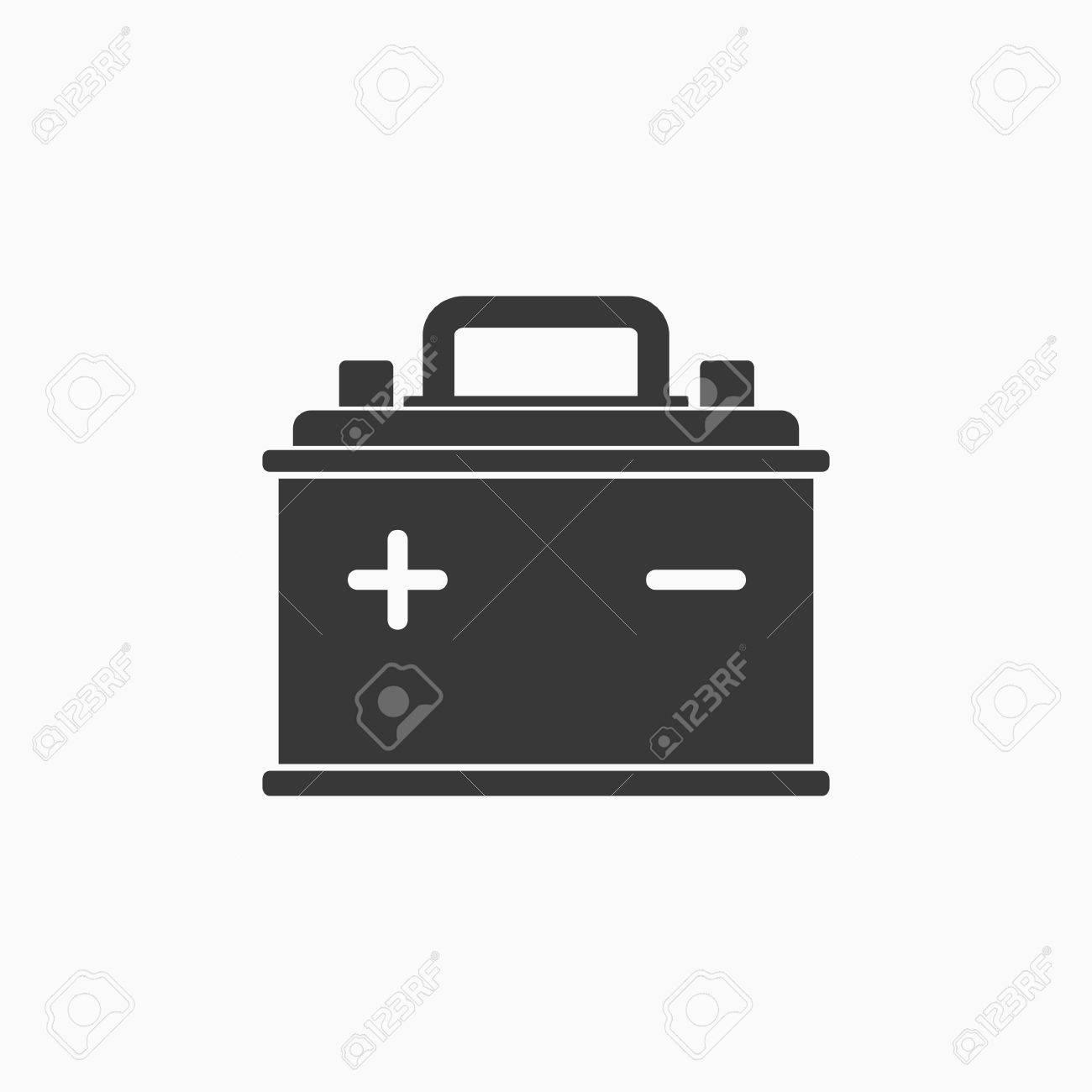 Auto-Batterie-Symbol Auf Weißem Hintergrund. Akkumulator Batterie ...
