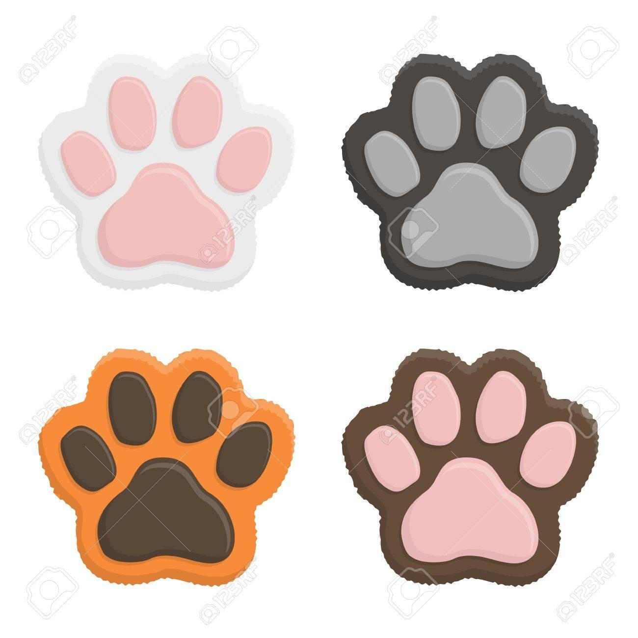 a82ca7c46e5 Conjunto patas gatito. pata del gato impresión animal en estilo plano  aislado en el fondo blanco. vector illustartion