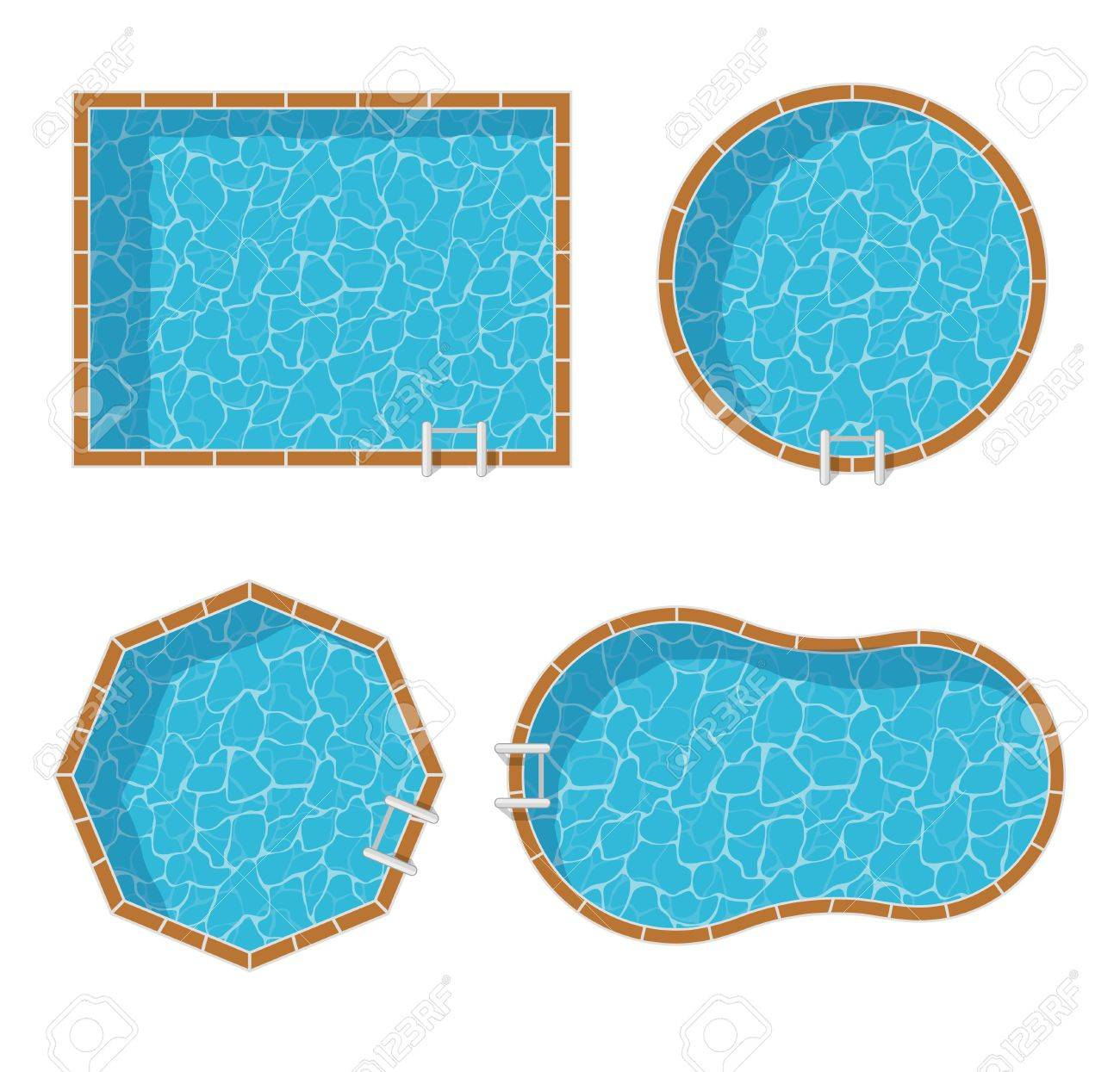 Swimming Pools Top View Set Isolated On White Background Blue