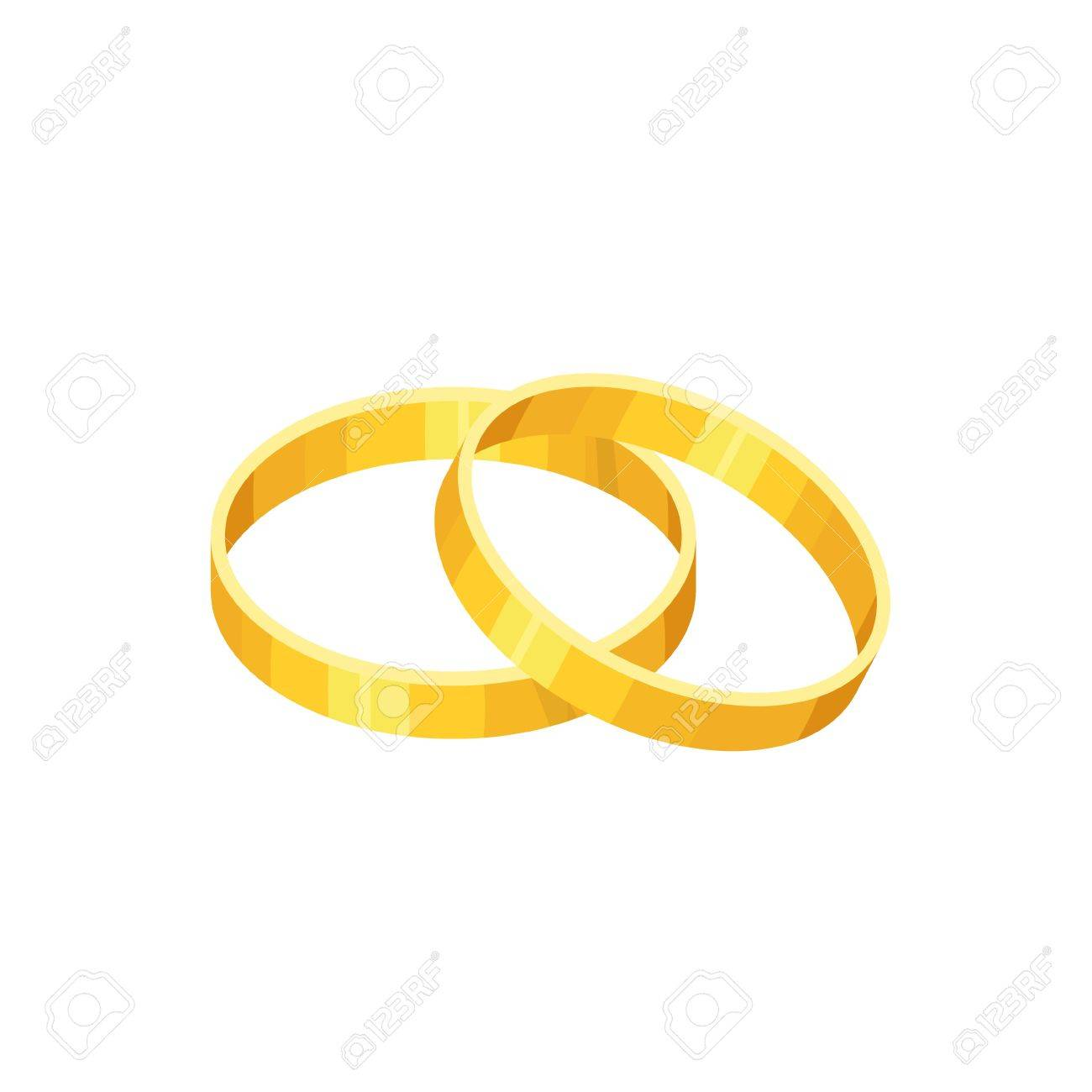 Precious Gold Rings Isolated On White Background Vector Wedding