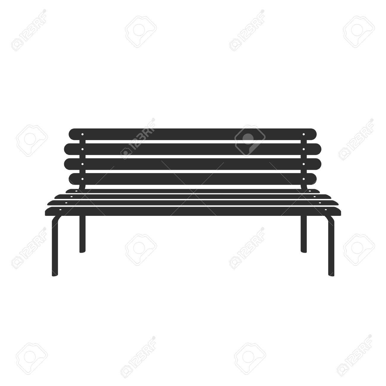 Icône de banc isolée sur fond blanc. Parc icône banc en style plat