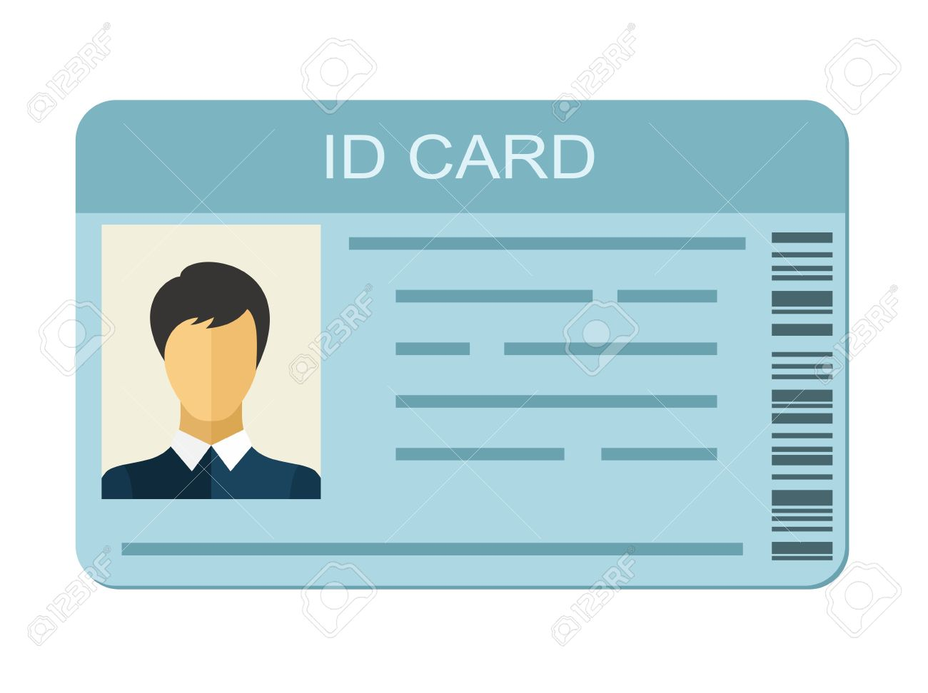 ID Card Isolated On White Background. Identification Card Icon ...