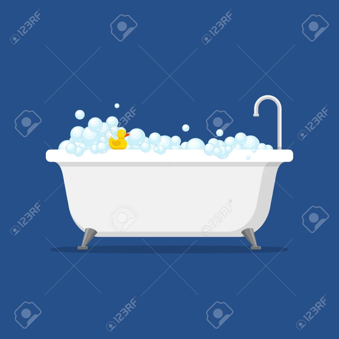 Bathtub With Foam Bubbles Inside And Bath Yellow Rubber Duck ...