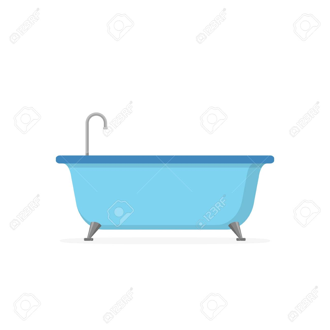 Blue Bathtub Isolated On White Background. Bath Time In Flat ...