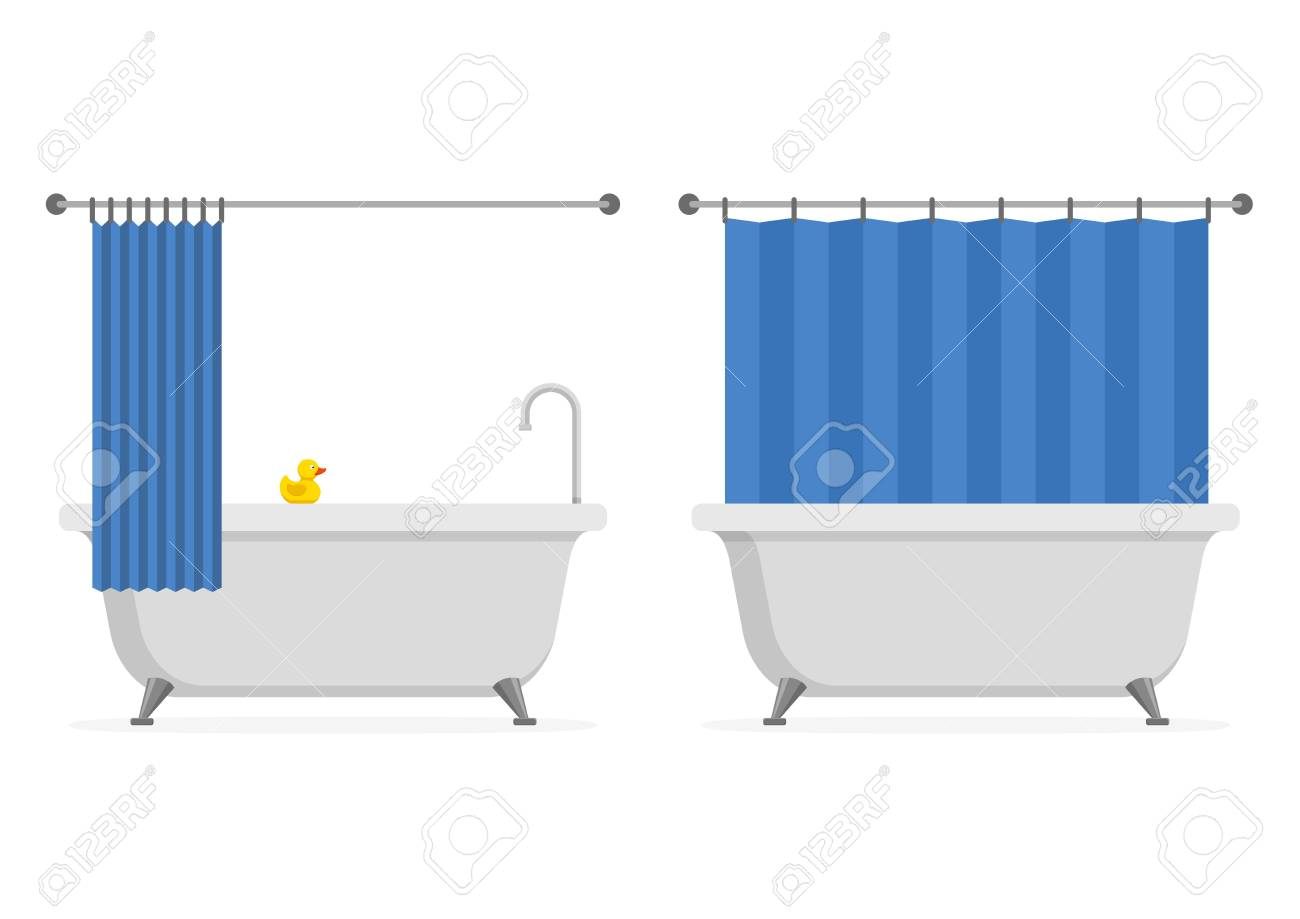 Bathtub Open And Closed Shower Curtain With Yellow Rubber Duck ...