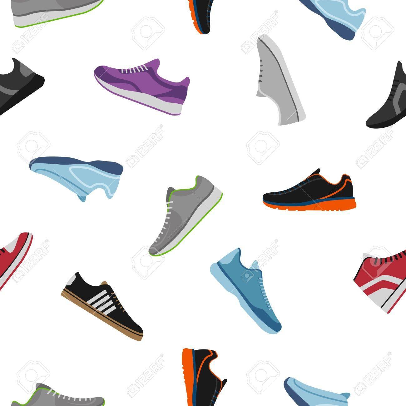 dd7646b6df Foto de archivo - Patrón de zapatos sobre fondo blanco. Zapatillas  deportivas, ropa de calzado cotidiana en estilo plano. Keds altos y bajos,  calzado para ...