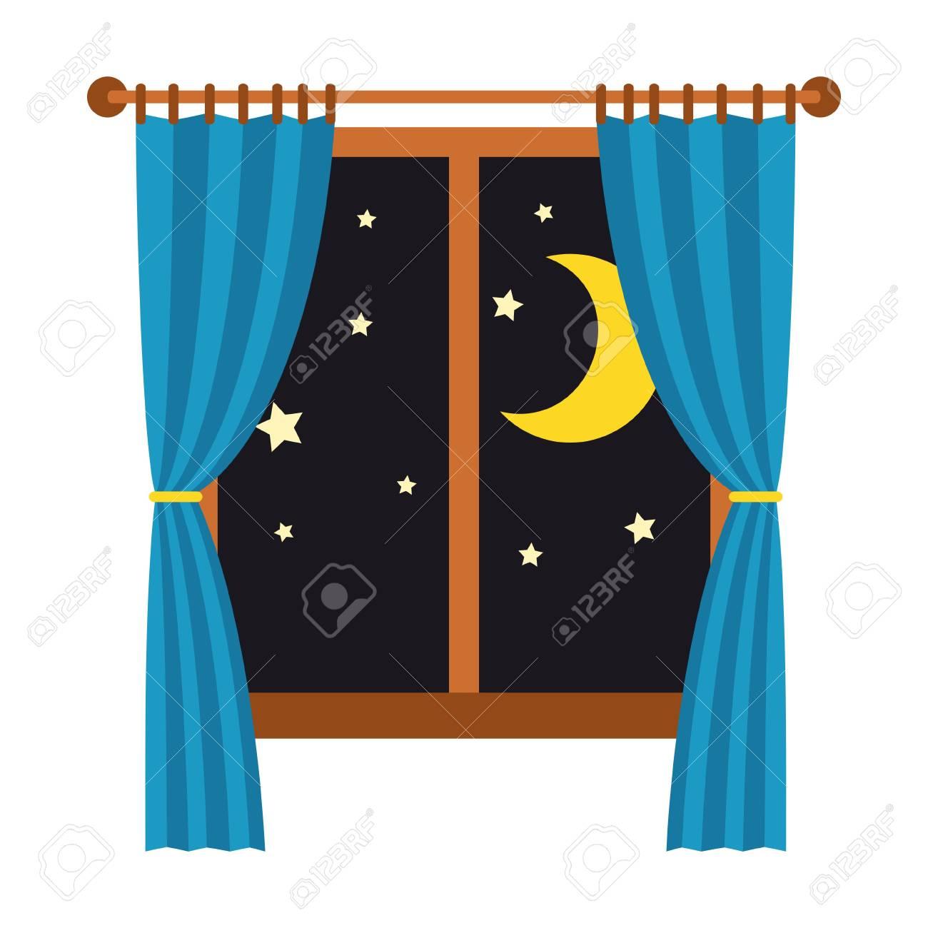 nacht uit het raam met blauwe gordijnen gesoleerd op een witte achtergrond slaap en rust