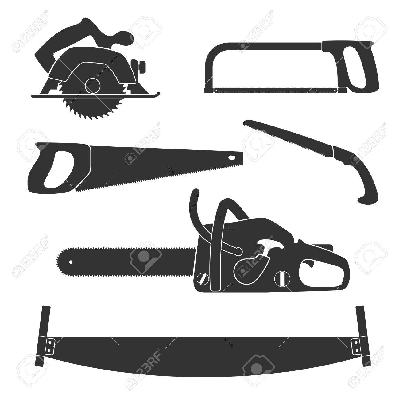 Lumberjack And Woodworking Tools Icons Isolated On White Background