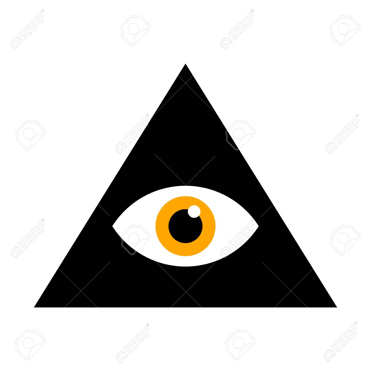 Seeing Eye All Seeing Eye Inside Triangle Pyramid Vector