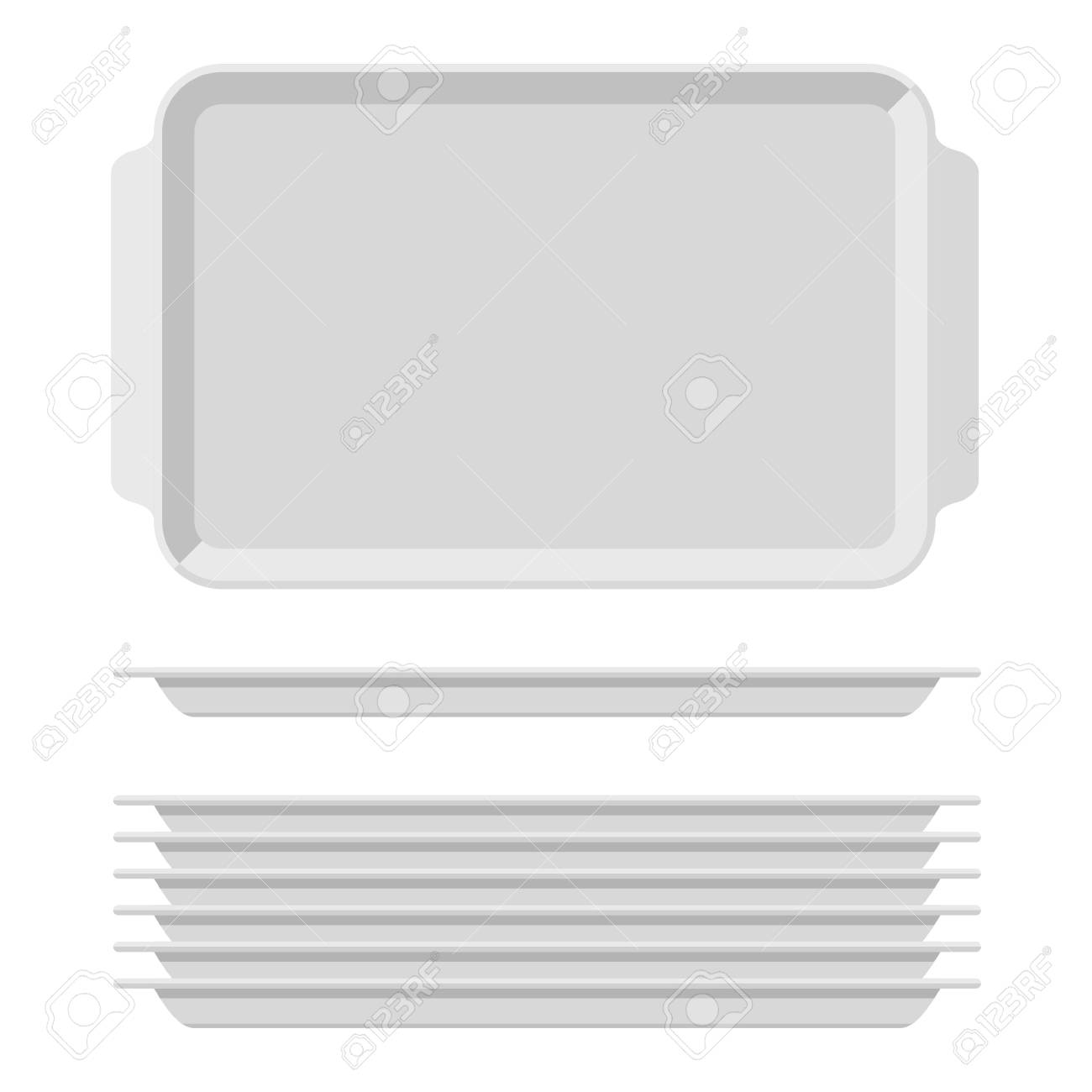 White Blank Food Tray Set With Handles. Rectangular Kitchen Salvers ...