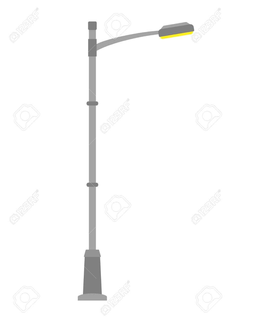 Genial Street Light Isolated On White Background. Outdoor Lamp Post In Flat Style.  Vector Illustration