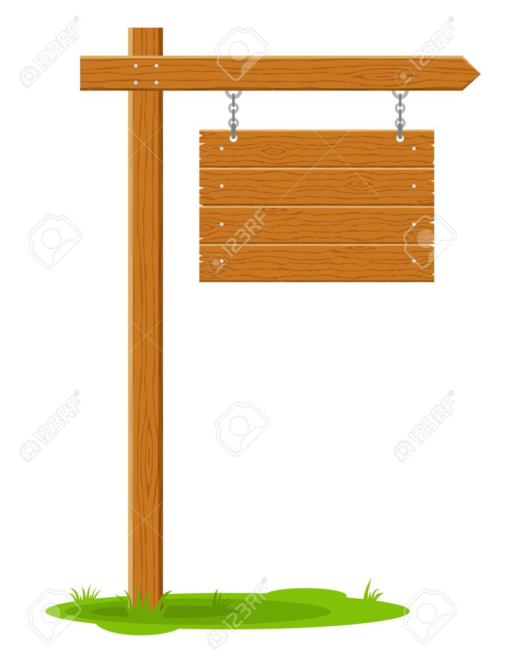 Sign Board Hanging To Communicate A Message On Street Or Road Emblems Of Signages Banner Template With Wood Texture Vector Illustration